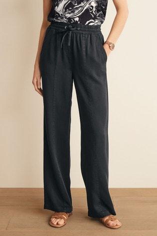Navy TENCEL™ Wide Leg Trousers