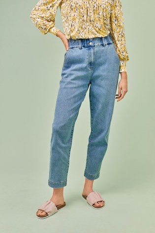Mid Blue Elasticated Waist Tapered Jeans