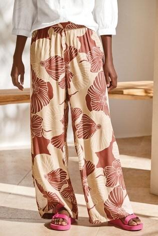 Tan Floral Wide Leg Trousers