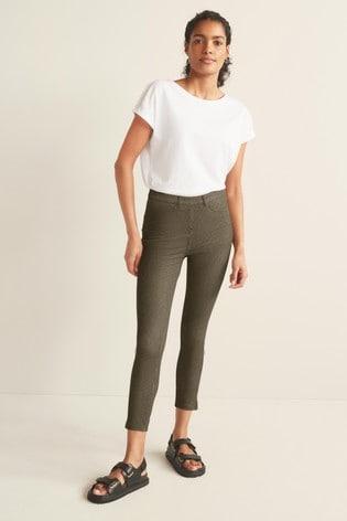 Khaki/Gold Stripe Jersey Cropped Leggings