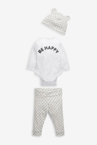 Monochrome Organic Cotton Slogan Bodysuit, Leggings And Hat Set (0-18mths)
