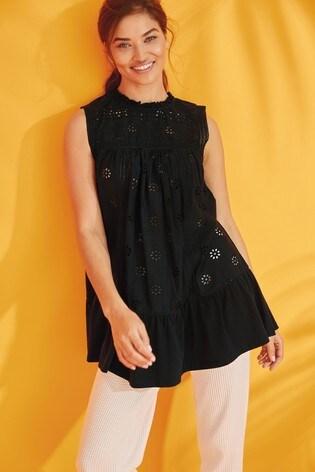 Black Broderie Sleeveless Tunic