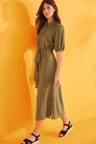 Khaki Midi Shirt Dress