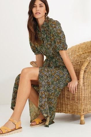 Black Print Midi Shirt Dress