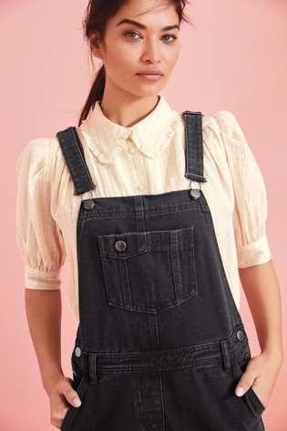 Black Denim Dungarees