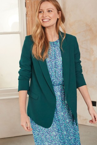 Teal Relaxed Soft Crepe Blazer