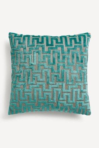 Fretwork Velvet Small Square Cushion