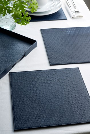 4 Reversible Faux Leather Placemats In A Holder