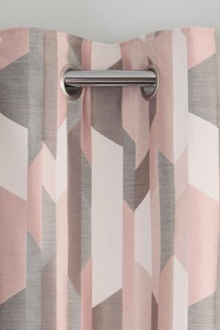 Abstract Geo Jacquard Eyelet Curtains