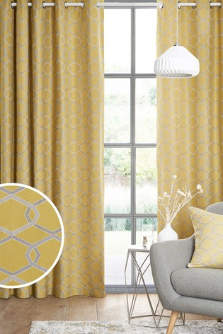 Chain Geo Jacquard Eyelet Curtains