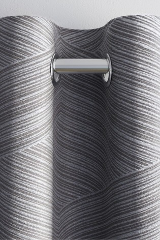Metallic Geo Jacquard Eyelet Curtains