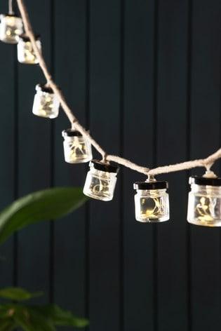 Set of 10 Glass Jar Solar Line Lights with Firefly LED
