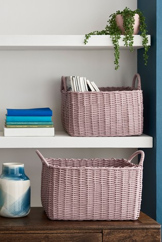 Set of 2 Plastic Wicker Baskets