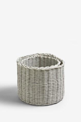 Set of 2 Plastic Wicker Storage Baskets