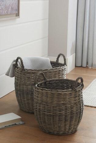 Set of 2 Woven Wicker Storage Baskets