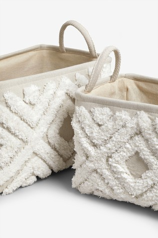 Set of 2 Tufted Storage Baskets