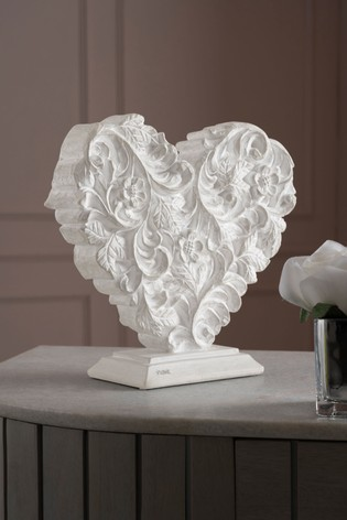 Carved Effect Heart Ornament