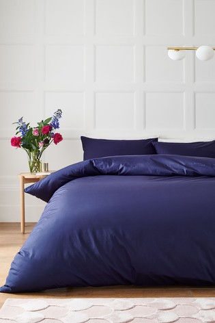 Navy Cotton Rich Duvet Cover And Pillowcase Set