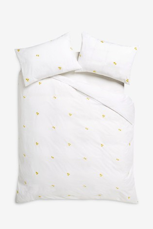 Embroidered Flowers Duvet Cover and Pillowcase Set