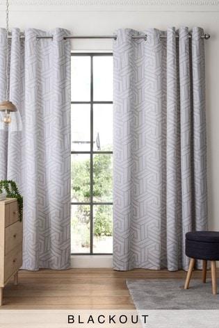 Set Of 2 Grey Geo Eyelet Curtains