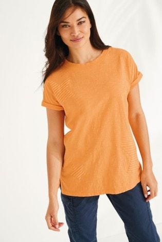 Ochre Star Curved Hem T-Shirt