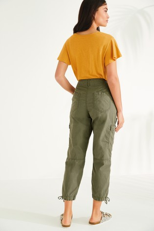 Khaki Cropped Utility Trousers