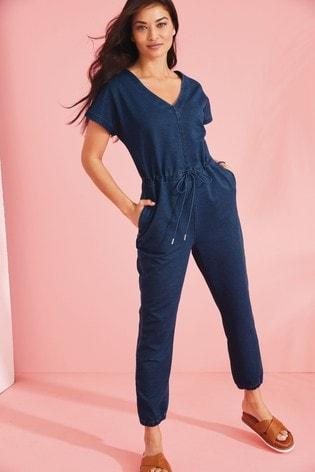 Dark Blue Soft Stretch Jersey Denim Jumpsuit