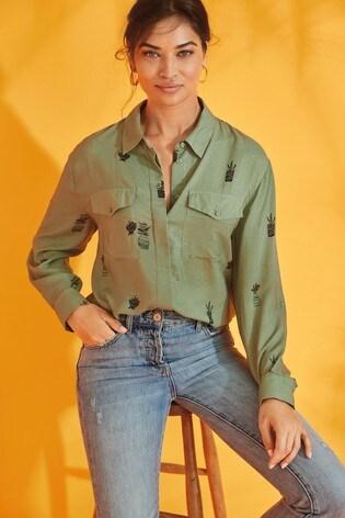 Green Cactus Utility Shirt