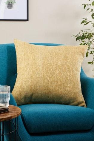 Ochre Yellow Heavyweight Chenille Large Square Cushion