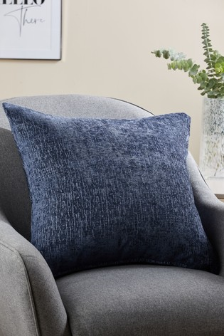 Navy Blue Heavyweight Chenille Large Square Cushion