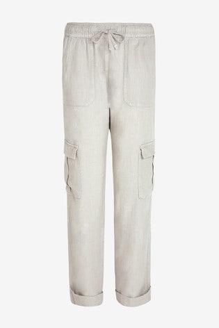 Grey Linen Blend Utility Trousers