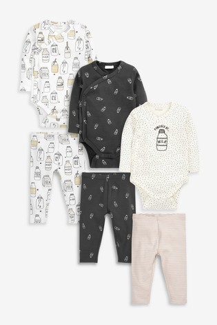 Monochrome 6 Pack Organic Cotton Milk Bodysuits And Leggings Set (0mths-2yrs)