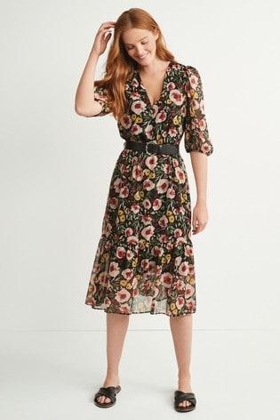 Floral V-Neck Belted Dress