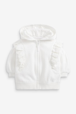 White Broderie Hoody Soft Touch Jersey (3mths-7yrs)