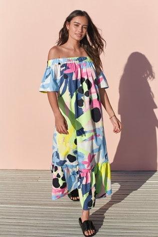 Bright Floral Off The Shoulder Maxi Dress
