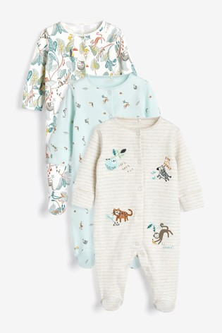 Green Safari 3 Pack Embroidered Sleepsuits (0-2yrs)