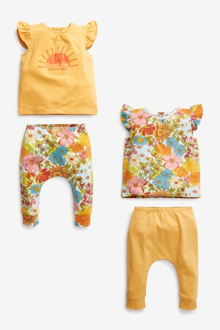 Multi 4 Pack Retro Floral T-Shirts And Leggings Set (0mths-2yrs)