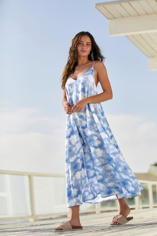 Blue Tie Dye Strappy Swing Dress
