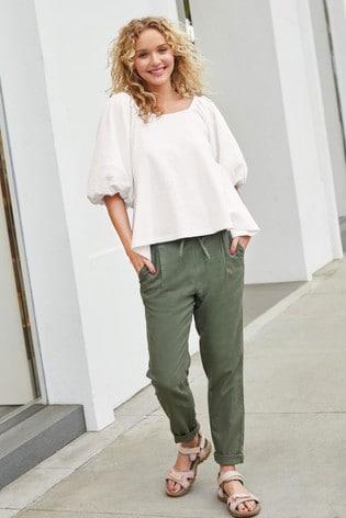 Khaki Linen Blend Taper Trousers