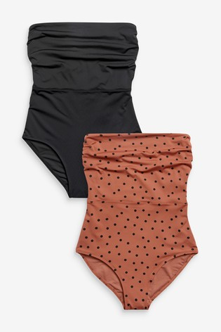 Black/Brown Bandeau Swimsuits Two Pack