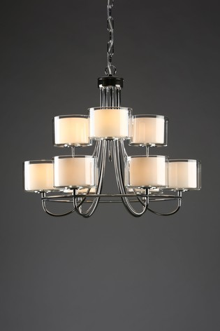 Chrome Southwell 9 Light Chandelier and Glass Shades