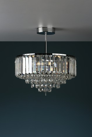 Laura Ashley Vienna Crystal 3 Light Semi Flush Ceiling Light