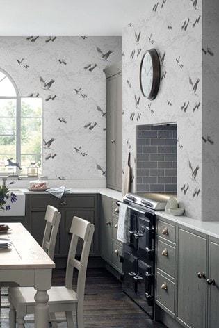 Silver Animalia Wallpaper