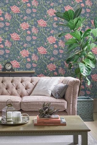 Dark Seaspray Tapestry Floral Wallpaper