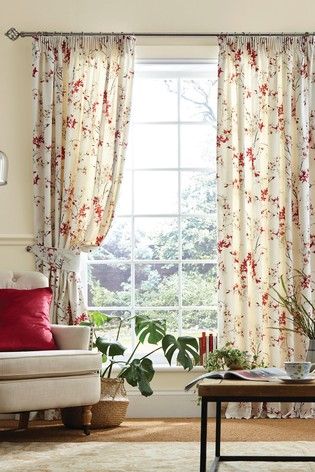 Laura Ashley Rosehip Forsythia Pencil Pleat Curtains
