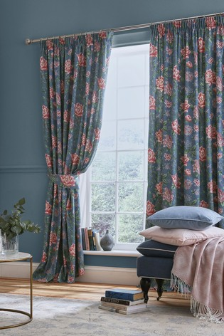 Laura Ashley Blue Tapestry Floral Pencil Pleat Curtains