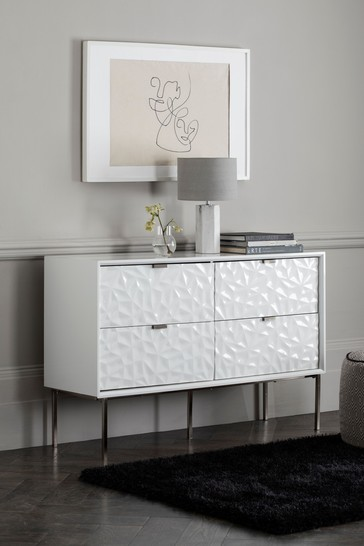Mode Textured White 4 Drawer Wide Chest