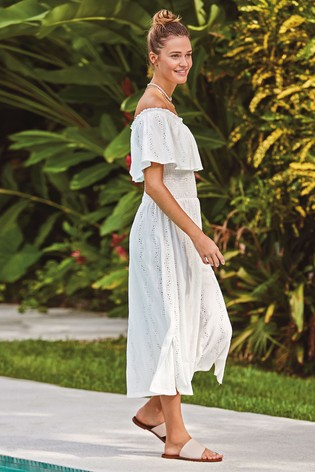 White Broderie Off The Shoulder Dress