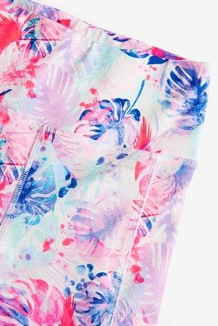 Pink Palm Print Sports Leggings (3-16yrs)