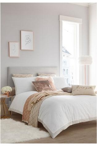 Tess Daly White Amber Duvet Cover and Pillowcase Set